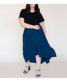 Women's Plus Size Swept Away Crepe Maxi Skirt