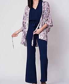 Drawstring Tie Front Printed Kimono