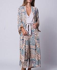 Patchwork Floral Mixed Media Kimono