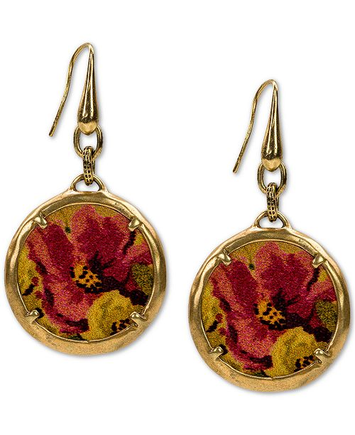 Patricia Nash Gold-Tone Floral-Print Leather Charm Drop Earrings