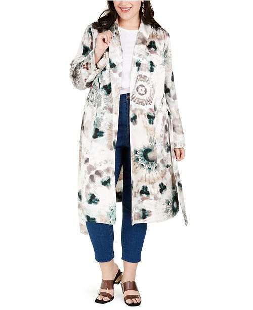 INC International Concepts INC Plus Size Tie-Dye Trench Coat, Created for Macy's