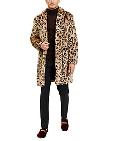 Men's Leopard Faux Fur Overcoat