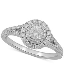 Diamond Double Halo Engagement Ring (3/4 ct. t.w.) in 10k Gold & White Gold