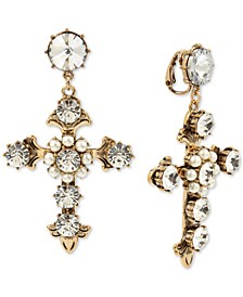 Gold-Tone Crystal Cross Clip-On Drop Earrings