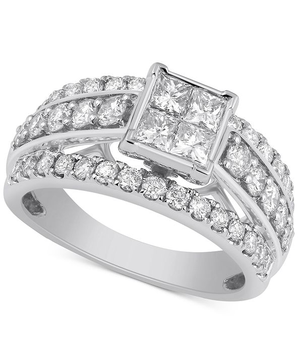 Macy's Diamond Princess Cut Engagement Ring (2 ct. t.w.) in 10k White Gold