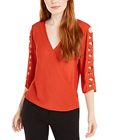 Juniors' Lattice-Sleeve Wrap Top