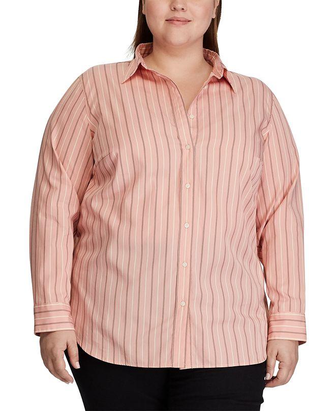 Lauren Ralph Lauren Plus Size Cotton-Blend Shirt