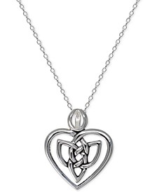 "Celtic Heart 18"" Pendant Necklace in Sterling Silver, Created For Macy's"