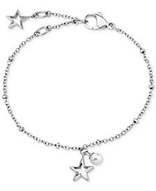 Stainless Steel Star & Imitation Pearl Chain Bracelet