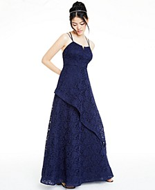 Juniors' Glitter-Lace Layered Gown