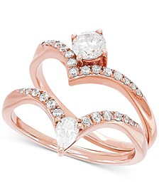 Certified Diamond Chevron Bridal Set (3/4 ct. t.w.) in 14k Rose Gold