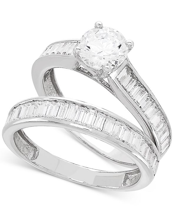 Macy's Certified Diamond Baguette Bridal Set (2 ct. t.w.) in 14k White Gold