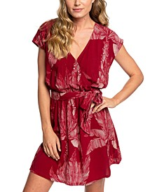 Juniors' Peace Of Mind Printed Faux-Wrap Dress