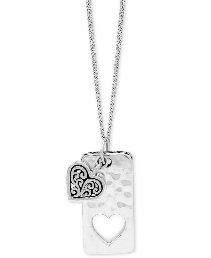 """Lois Hill - Heart & Dog Tag Pendant Necklace in Sterling Silver, 18"""" + 2"""" extender"""