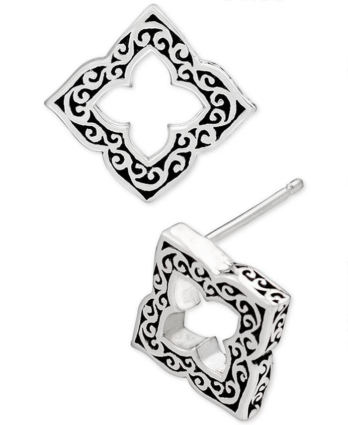 Lois Hill - Filigree Cut-Out Stud Earrings in Sterling Silver