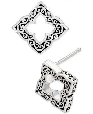 Filigree Cut-Out Stud Earrings in Sterling Silver