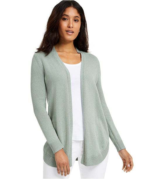 Charter Club Open-Front Curved-Hem Completer Sweater, Created for Macy's