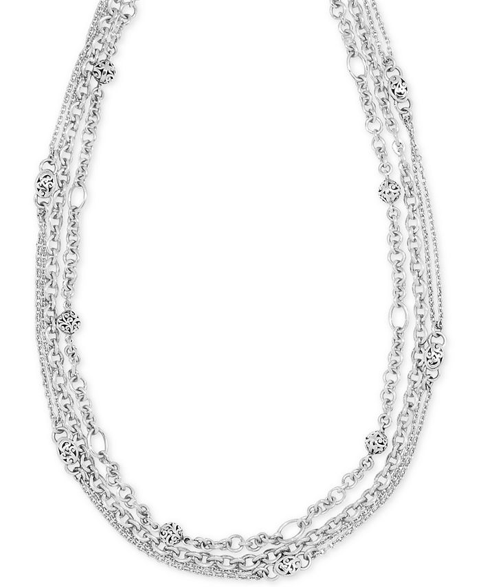 """Lois Hill - Multi-Chain Adjustable 18"""" Statement Necklace in Sterling Silver"""
