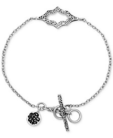 Filigree Cut-Out Toggle Bracelet in Sterling Silver