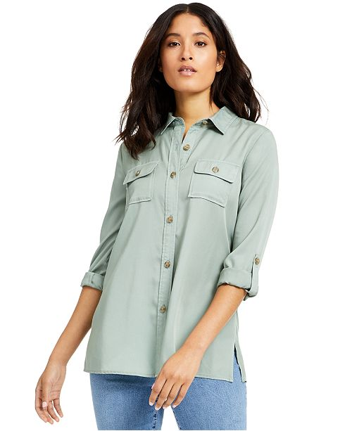 Charter Club Petite Button-Up Tunic, Created for Macy's