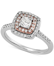 Diamond Cushion Double Halo Engagement Ring (3/4 ct. t.w.) in 14k White & Rose Gold