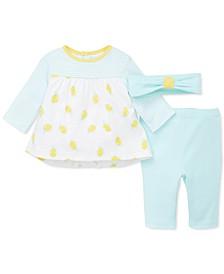 Baby Girls 3-Pc. Cotton Headband, Lemon Top & Pants Set