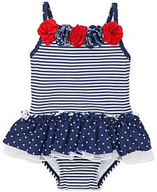 Baby Girls 1-Pc. Dot-Print & Striped Swimsuit