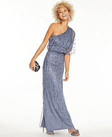 Petite Sequined One-Shoulder Gown