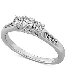 Diamond Three Stone Engagement Ring (1/2 ct. t.w.) in 14k White Gold
