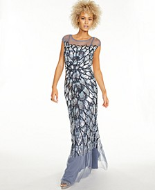 Sequined Illusion Gown
