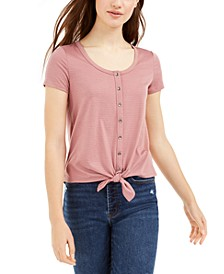 Juniors' Tie-Front Pointelle T-Shirt