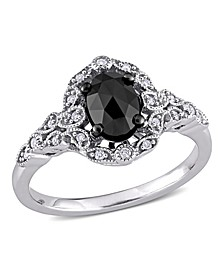 Black and White Diamond (1 ct. t.w.) Cluster Ring in 14k White Gold