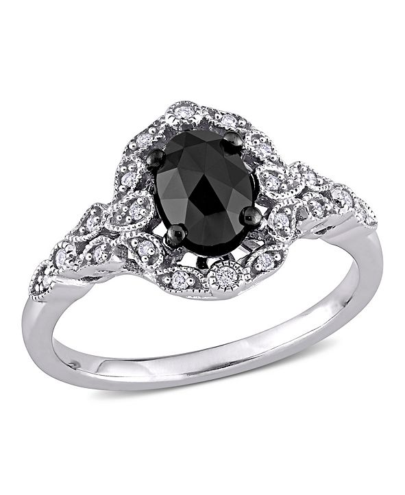 Macy's Black and White Diamond (1 ct. t.w.) Cluster Ring in 14k White Gold