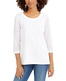 Eyelet-Sleeve Cotton Top, Created for Macy's