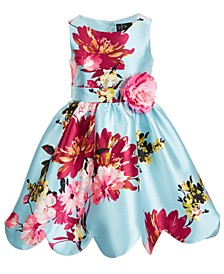 Little Girls Floral-Print Scalloped Mikado Dress