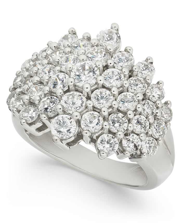 Macy's - Diamond Cluster Statement Ring (3 ct. t.w.) in 14k White Gold