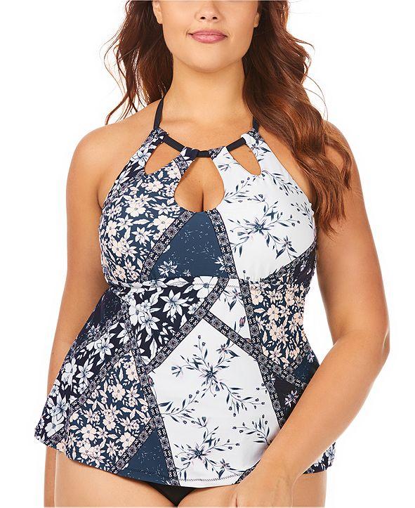 Raisins Curve Trendy Plus Size Juniors' Las Brisas Printed Rosalie Poolside Underwire Tankini Top
