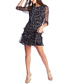 Paisley Overlay Ruffle Dress