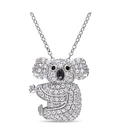Created White Sapphire (1 1/20 ct. t.w.) and Black Spinel Accent Koala Necklace in Sterling Silver