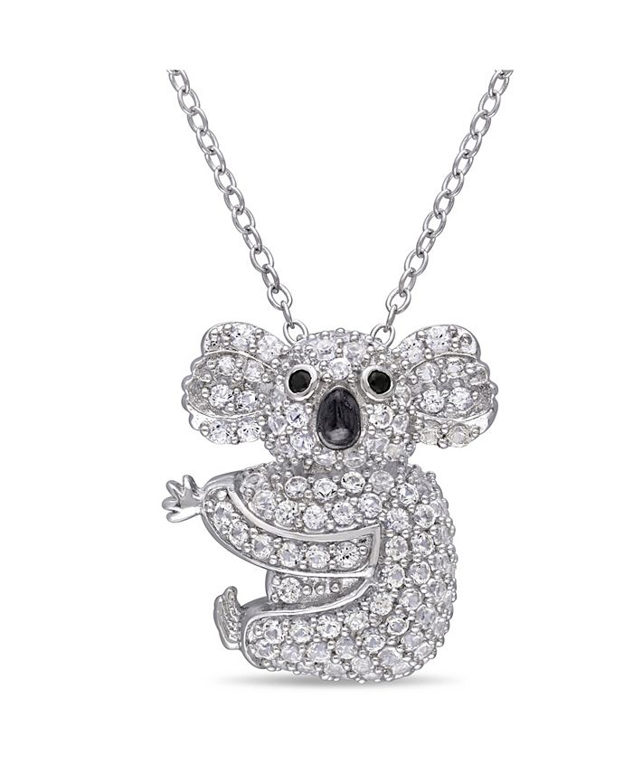 Macy's - Created White Sapphire (1 1/20 ct. t.w.) and Black Spinel Accent Koala Necklace in Sterling Silver