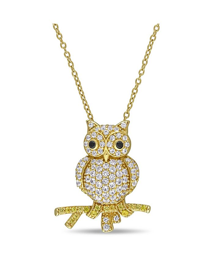 Macy's - Created White and Yellow Sapphire (1 1/3 ct. t.w.) Black Spinel Accent Owl Necklace in 18k Gold Over Sterling Silver