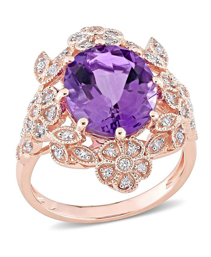 Macy's - Amethyst (4 ct. t.w.) and Diamond (1/4 ct. t.w.) Floral Vintage Cocktail Ring in 14k Rose Gold
