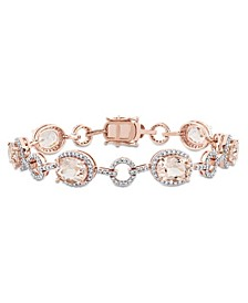 Morganite (11 3/4 ct. t.w.) and Diamond (1 1/2 ct. t.w.) Link Bracelet in 14k Rose Gold