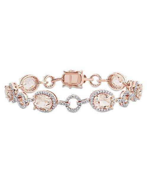 Macy's Morganite (11 3/4 ct. t.w.) and Diamond (1 1/2 ct. t.w.) Link Bracelet in 14k Rose Gold