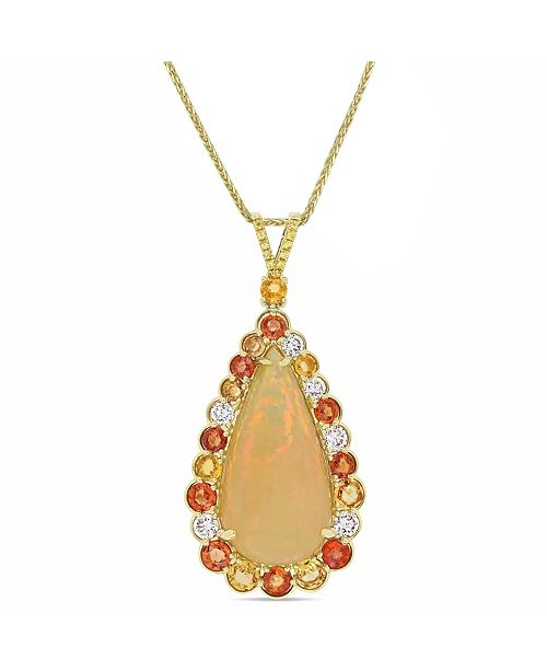 Macy's Opal (17 2/5 ct. t.w.), Yellow and Orange Sapphire (4 ct. t.w.) and Diamond (7/8 ct. t.w.) Drop Necklace in 14k Yellow Gold