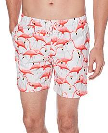 Men's Flamingo-Print Swim Trunks