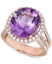 Amethyst (9 ct. t.w.) & Diamond (7/8 ct. t.w.) Ring in 14k Rose Gold