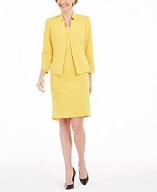Stand-Collar Blazer & Flounce Sheath Dress
