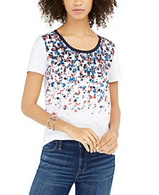 Printed Scoop-Neck Top