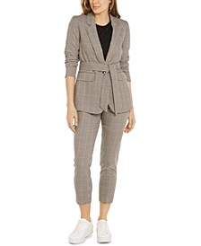 Plaid Tie-Waist Blazer, Puff-Sleeve Top & Plaid Trousers, Created For Macy's